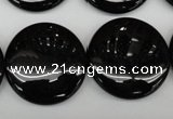 CAG4016 15.5 inches 25mm flat round black agate beads