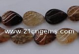 CAG4095 15.5 inches 10*14mm twisted flat teardrop dragon veins agate beads