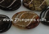CAG4109 15.5 inches 20*30mm twisted oval dragon veins agate beads