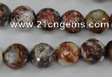 CAG4548 15.5 inches 12mm faceted round fire crackle agate beads
