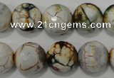 CAG4575 15.5 inches 16mm faceted round fire crackle agate beads