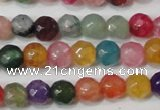 CAG4608 15.5 inches 4mm faceted round fire crackle agate beads