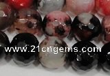 CAG4652 15.5 inches 8mm faceted round fire crackle agate beads