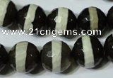 CAG4679 15.5 inches 14mm faceted round tibetan agate beads wholesale