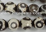 CAG4717 15 inches 16mm faceted round tibetan agate beads wholesale
