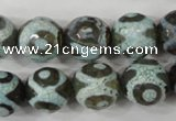 CAG4732 15 inches 14mm faceted round tibetan agate beads wholesale