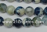 CAG4807 15 inches 10mm faceted round fire crackle agate beads