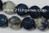 CAG4809 15 inches 14mm faceted round fire crackle agate beads