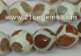 CAG4819 15 inches 14mm faceted round tibetan agate beads wholesale