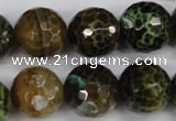 CAG4846 15 inches 16mm faceted round dragon veins agate beads
