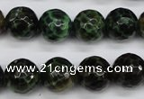 CAG4854 15 inches 12mm faceted round dragon veins agate beads