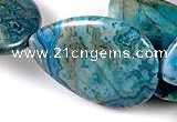 CAG498 15 inches flat teardrop 25*32mm cyan crazy lace agate gemstone beads