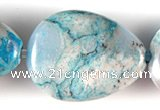 CAG507 15 inches 10*14mm flat teardrop cyan crazy lace agate beads