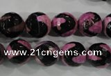 CAG5166 15 inches 12mm faceted round tibetan agate beads wholesale