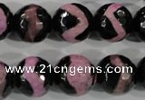 CAG5170 15 inches 14mm faceted round tibetan agate beads wholesale