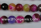 CAG5193 15 inches 10mm faceted round fire crackle agate beads