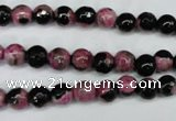 CAG5203 15 inches 6mm faceted round fire crackle agate beads