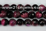 CAG5204 15 inches 8mm faceted round fire crackle agate beads