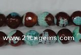 CAG5215 15 inches 10mm faceted round fire crackle agate beads