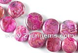 CAG522 14mm & 16mm coin fuchsia crazy lace agate beads wholesale