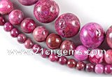 CAG524 15 inches 6mm & 10mm & 16mm round fuchsia crazy lace agate beads