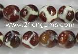 CAG5340 15.5 inches 12mm faceted round tibetan agate beads wholesale