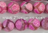 CAG5351 15.5 inches 14mm faceted round tibetan agate beads wholesale