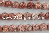 CAG5357 15.5 inches 8mm faceted round tibetan agate beads wholesale