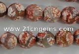 CAG5359 15.5 inches 12mm faceted round tibetan agate beads wholesale
