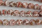 CAG5361 15.5 inches 8mm faceted round tibetan agate beads wholesale