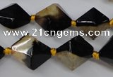 CAG5497 15.5 inches 18*18mm faceted bicone agate gemstone beads