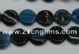 CAG5627 15 inches 12mm flat round dragon veins agate beads