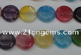 CAG5635 15 inches 12mm flat round dragon veins agate beads