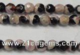 CAG5651 15 inches 4mm faceted round fire crackle agate beads