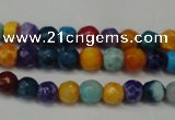 CAG5660 15 inches 4mm faceted round fire crackle agate beads