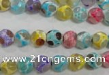 CAG5707 15 inches 8mm faceted round tibetan agate beads wholesale