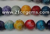 CAG5818 15 inches 10mm faceted round fire crackle agate beads