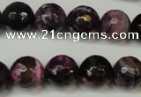CAG5827 15 inches 12mm faceted round fire crackle agate beads