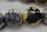 CAG5882 15 inches 20mm faceted round fire crackle agate beads