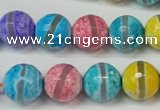 CAG5892 15 inches 12mm faceted round tibetan agate beads wholesale