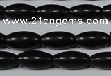 CAG6025 15.5 inches 6*12mm rice matte black agate beads