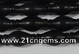 CAG6044 15.5 inches 8*16mm carved vase-shaped matte black agate beads