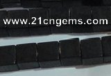 CAG6046 15.5 inches 8*8mm cube matte black agate beads