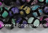 CAG6131 15 inches 10mm faceted round tibetan agate gemstone beads