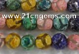 CAG6142 15 inches 12mm faceted round tibetan agate gemstone beads