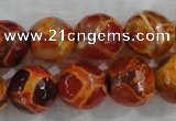 CAG6152 15 inches 14mm faceted round tibetan agate gemstone beads