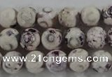 CAG6181 15 inches 12mm faceted round tibetan agate gemstone beads