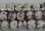 CAG6182 15 inches 14mm faceted round tibetan agate gemstone beads