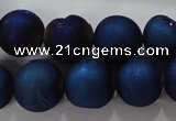 CAG6247 15 inches 18mm round plated druzy agate beads wholesale
