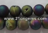 CAG6282 15 inches 8mm round plated druzy agate beads wholesale